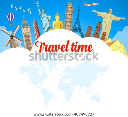 World Travel. Planning summer vacations. Summer holiday. Tourism and vacation theme. Flat design vector illustration. Material design. - stock vector