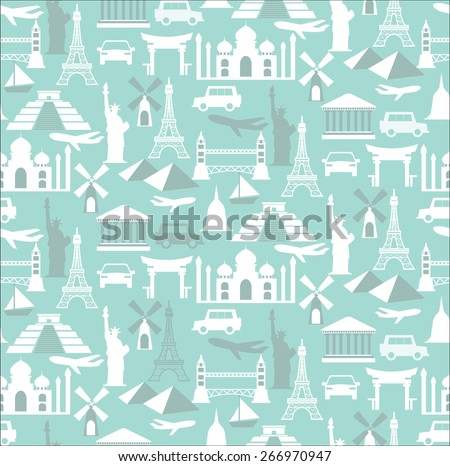 world travel seamless pattern, Endless texture can be used for wallpaper, pattern fills, web page background,surface textures. - stock vector