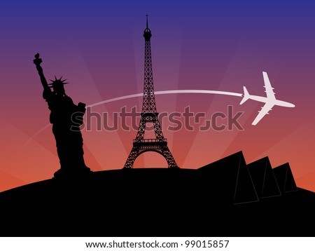 World Travel Sunset Background - stock vector