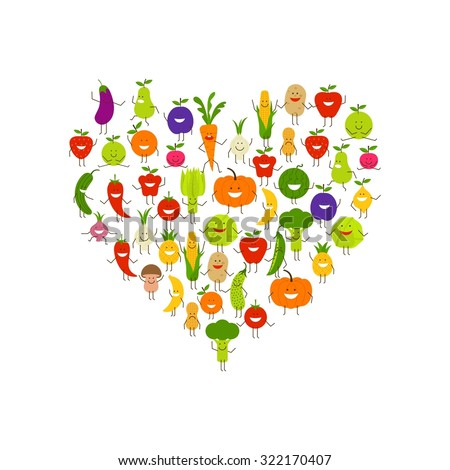 World vegetarian day vector, cartoon vegetables characters - stock vector