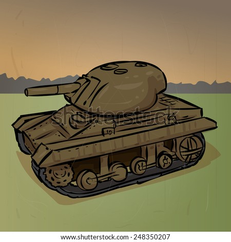 World War 2 American light tank M22 Locust. Hand drawn illustration. - stock vector