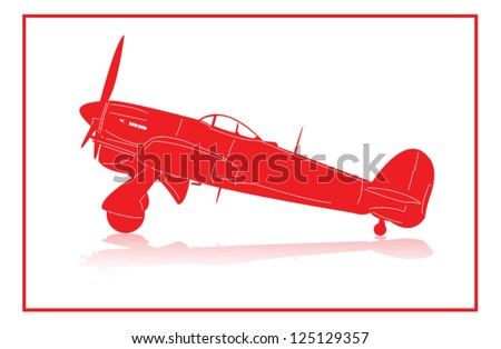 World War 2 fighter plane in red silhouette. - stock vector