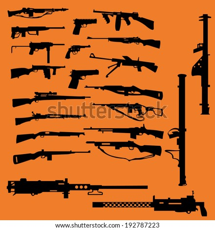 World War II weapons icon set - stock vector
