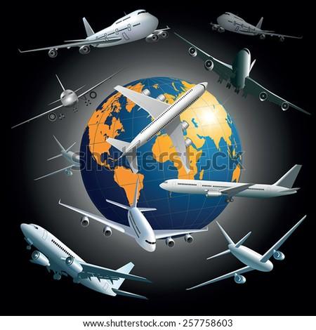 World wide air transport concept. Vector illustration - stock vector