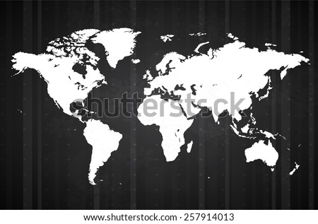 World Wide Map with Winter Theme. Countries separable by borders - stock vector