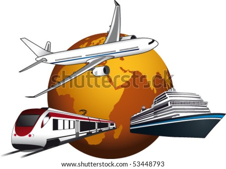 World with plane, ship and train - stock vector