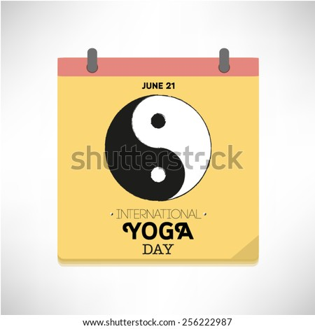World Yoga Day vector illustration on calendar page. - stock vector