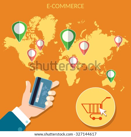Worlds e-commerce map pointer man holding credit cards online store web market map points concept  - stock vector