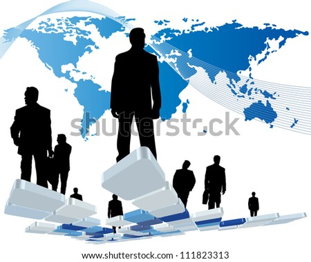 Worldwide business theme with silhouettes of man and map. Vector illustration. - stock vector