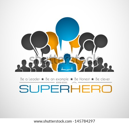 Worldwide communication and social media concept art with a superhero shape. People communicating around the globe with a lot of connections. - stock vector