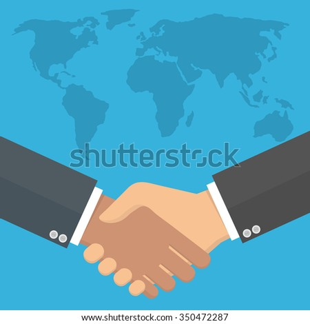 Worldwide cooperation concept. Business handshake with world map in the background. Flat style - stock vector