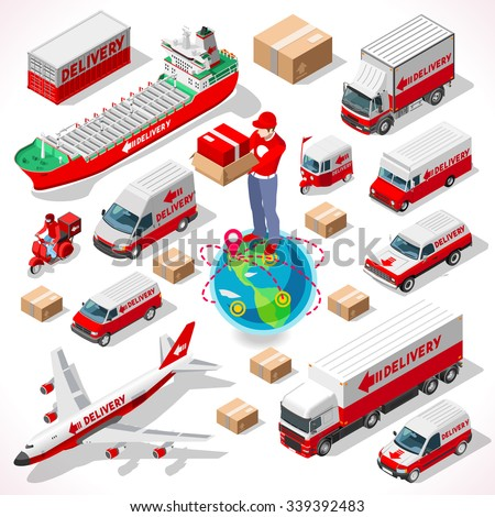 Worldwide Express Delivery Concept. NEW bright palette 3D Flat Vector Icon Set. Complete collection of vehicle fleet truck ship airplane of delivery chain - stock vector