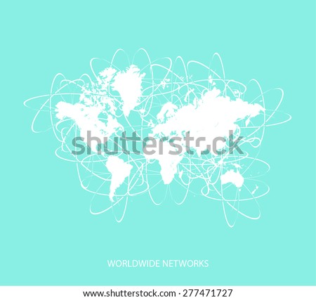 Worldwide networks/paths of internet or web, commercial, business, communication, technology, and airlines in a conceptual design, abstract background of multipath ways or networks around the world - stock vector