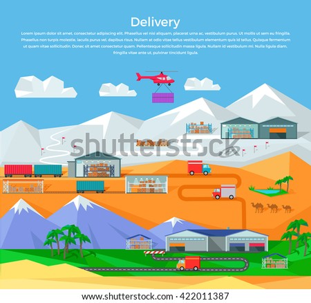 Worldwide warehouse design flat. Logistics container shipping and distribution. Transportation by water in the mountains in the desert and in the snow. Loading and unloading boxes. Vector illustration - stock vector