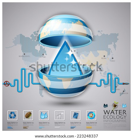 Worldwide Water Ecology And Environment Infographic Design Template - stock vector