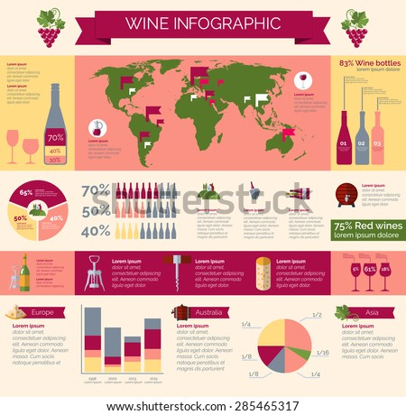 Worldwide wineries production statistic and wine collections distribution and consumption infografic presentation poster print abstract vector illustration - stock vector