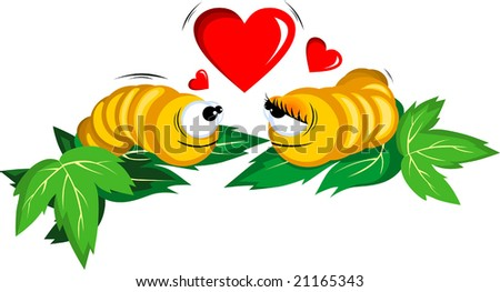 worms with love symbols - stock vector