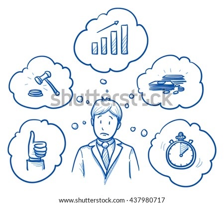 Worried business man, with icons of requirement and goals around him: growth, legal, profitable, fast, satisfying. Concept for good work or employee. Hand drawn line art cartoon vector illustration. - stock vector