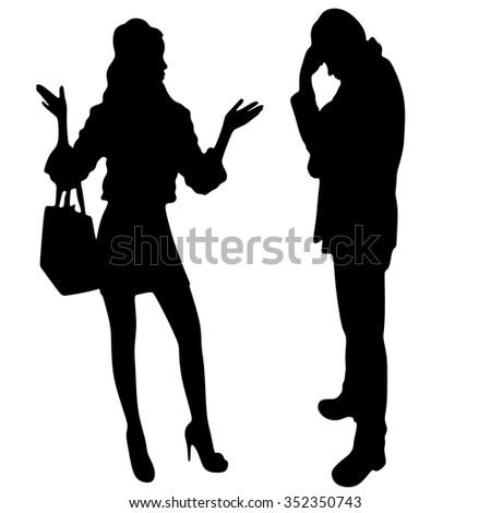 worried man and his girlfriend standing  - stock vector