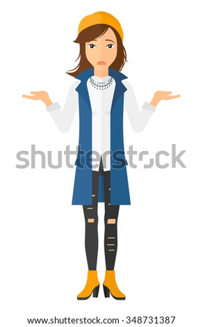 Worried woman with spread hands vector flat design illustration isolated on white background. Vertical layout. - stock vector