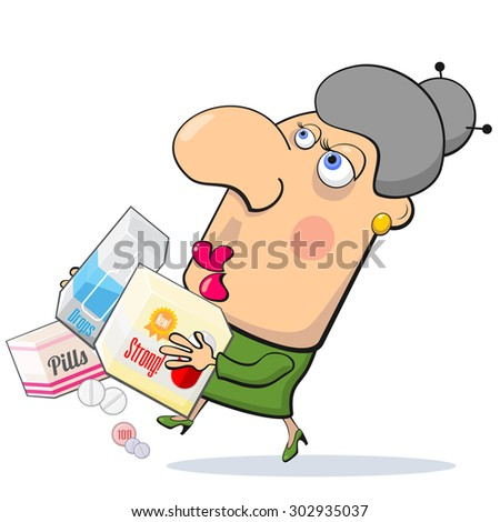 Worrying woman running with boxes with different medicines - stock vector