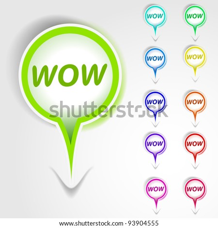 WOW banner tag - stock vector