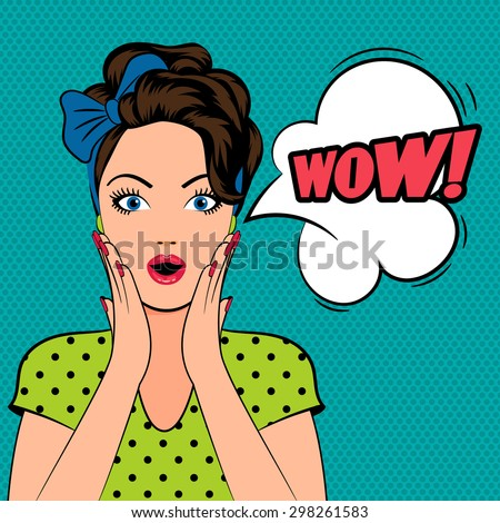 WOW bubble pop art surprised woman face with open mouth - stock vector