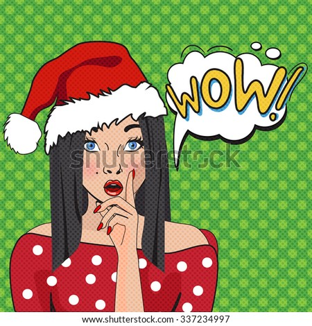 WOW bubble pop art. Surprised woman with opend mouth.Christmas comic poster with a girl. Pop Art illustration of a woman with the speech bubble. Party invitation. Christmas Girl Pop Art - stock vector