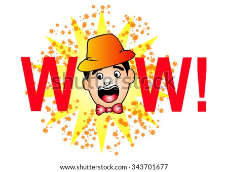 Wow! Comic Speech face, Cartoon  - stock vector