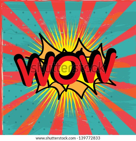 wow icon over grunge background vector illustration - stock vector