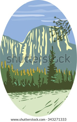 WPA style illustration of El Capitan a granite monolith and vertical rock formation in Yosemite National Park, located on the north side of Yosemite Valleyset inside oval shape done in retro style.  - stock vector