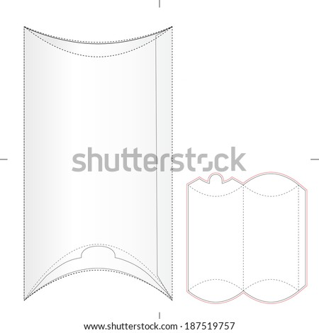 Wrap Sandwich Packaging Box with Diecut Pattern - stock vector