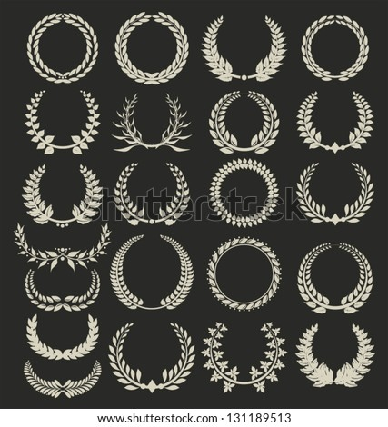 Wreath collection on black background - stock vector