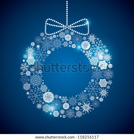 wreath consisting of a scattering of scintillating shining snowflakes - stock vector
