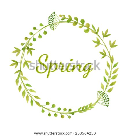 Wreath made of fresh green plants. Spring background. Vector watercolor. - stock vector
