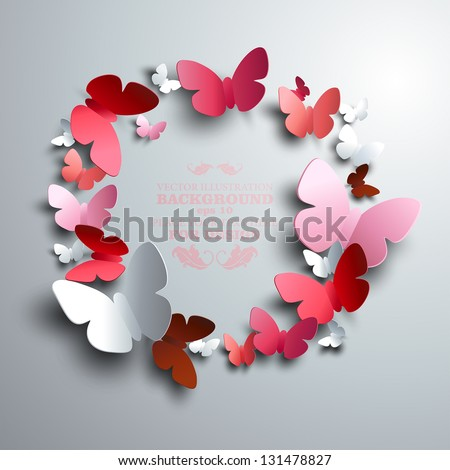 wreath made of white red and pink paper butterflies with free space for your text in the middle - stock vector