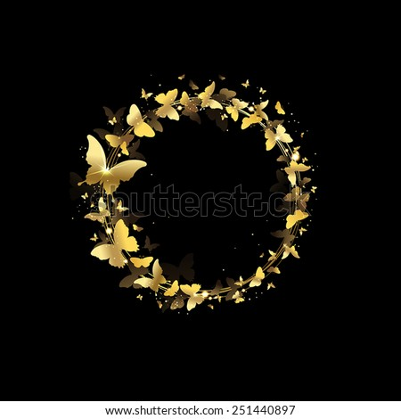wreath of butterflies on a black background - stock vector