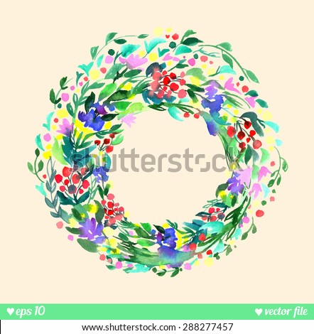 Wreath of forest flowers. Vector. Hand drawn artwork. Love concept for wedding invitations, cards, tickets, congratulations, branding, label. Blue cyan green pink purple violet indigo yellow red beige - stock vector