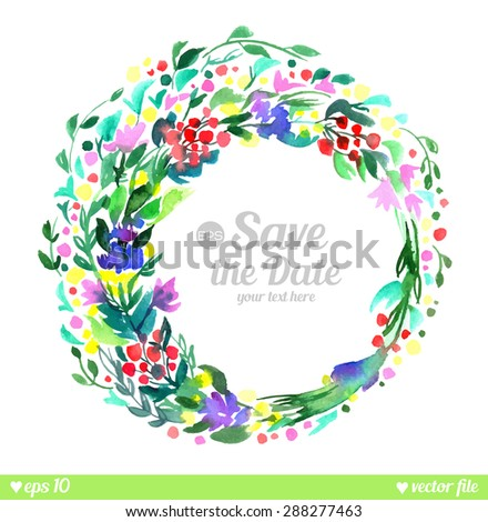 Wreath of forest flowers. Vector. Hand drawn artwork. Love concept for wedding invitations, cards, tickets, congratulations, branding, label. Blue cyan green pink purple violet indigo yellow red white - stock vector
