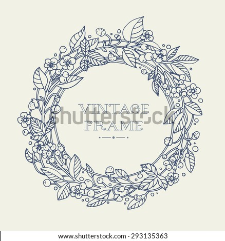 Wreath of forest flowers. Vector. Hand drawn artwork. Love concept for wedding invitations, cards, tickets, congratulations, branding, boutique logo, label. Monochrome dark grey blue, beige - stock vector