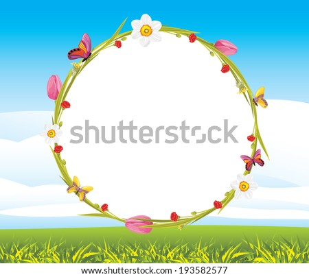 Wreath with butterflies and spring flowers on the landscape background. Vector - stock vector