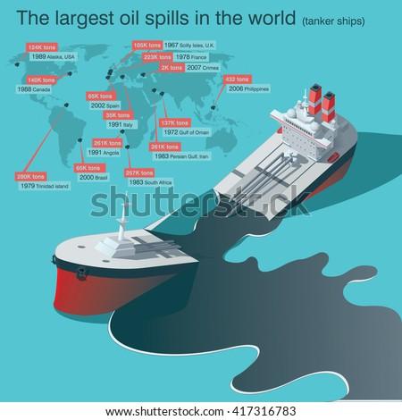 Wrecked oil tanker ship. Oil spill infographic. Vector illustration - stock vector