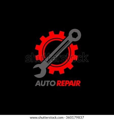 Wrench and gear icon. Mechanic service and mechanics, connection and operation engineering design work. - stock vector