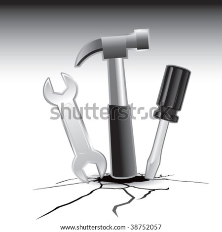 Wrench, screwdriver, and hammer on cracked ground - stock vector