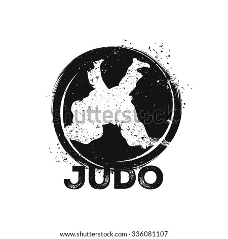 Wrestling illustration. Judo theme. Template for poster, gym, cover, t-shirt or other art works. - stock vector