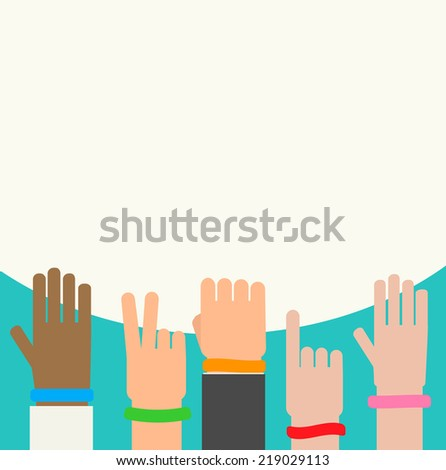 Wristbands on human hands background, vector illustration  - stock vector