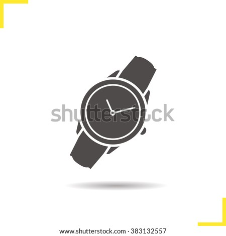 Wristwatch icon. Drop shadow watch icon. Men's hand watches accessory. Classic wrist watch icon. Isolated wristwatch black illustration. Watch logo concept. Vector wrist watch silhouette  symbol - stock vector