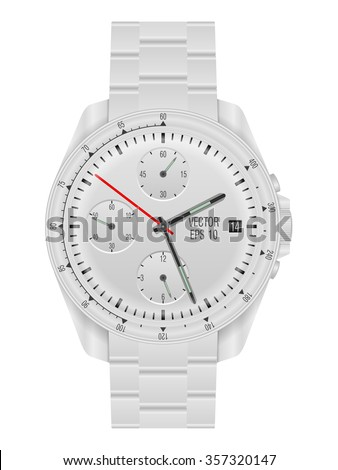 Wristwatch on a white background. Vector illustration. - stock vector