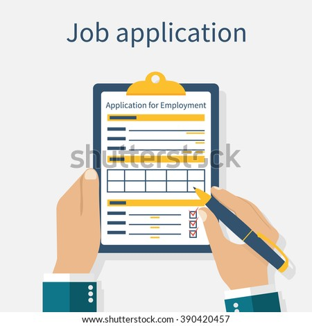 Write documents. Vector illustration in flat design style. Application for employment. - stock vector