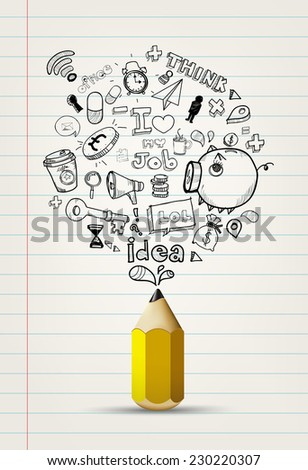 write doodle idea on notebook paper.write doodle idea on white paper. - stock vector